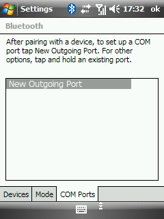 Windows Mobile bluetooth manager - set up serial port